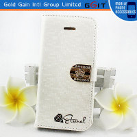 Elegant Water Cube Pattern Leather Flip Cover For Samsung Note 2 N7100 With Megenetic Crown Diamond Flip Case For Galaxy Note 2