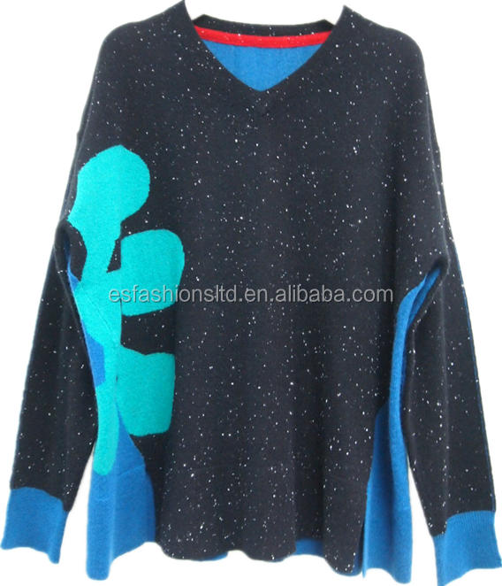 Cambodia Fancy Fashionable Knitted Design Cashmere Sweater Pullover