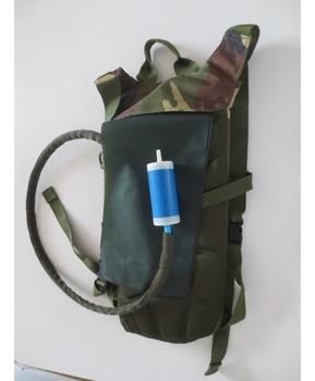 Personal outdoor straw UF water filter for camping, life save with backpack water bag