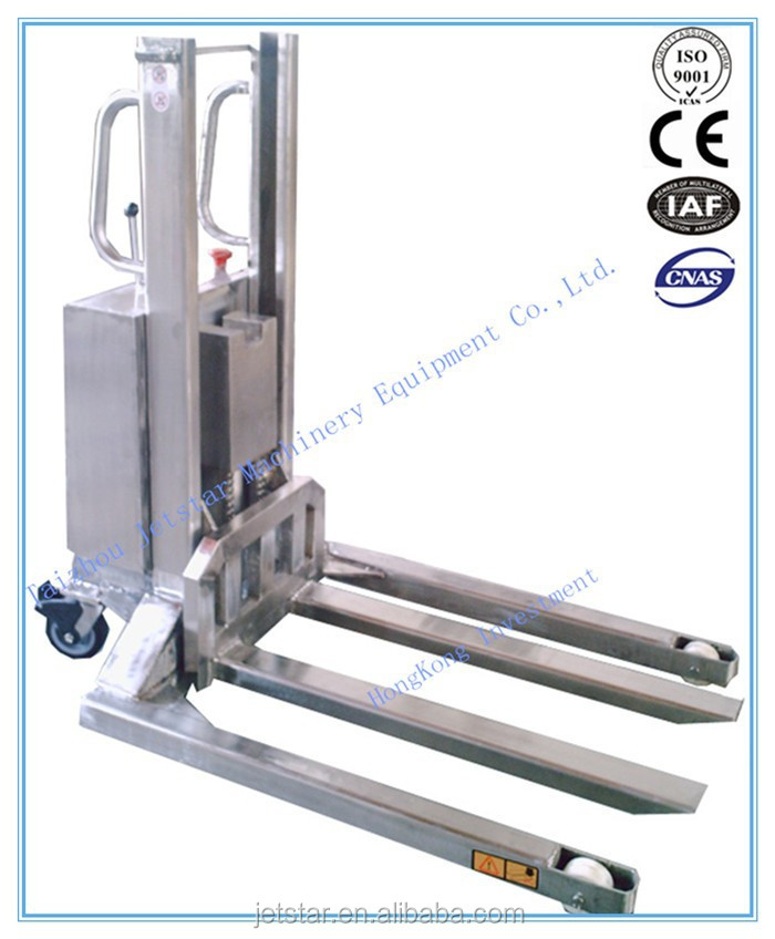 Semi Electric Stainless hydraulic Stacker truck