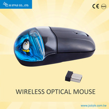 2017 New Gift 2.4GHZ Wireless USB Aqua Mineral Oil Water Opitcal Mouse With Liquid And Customized Floater