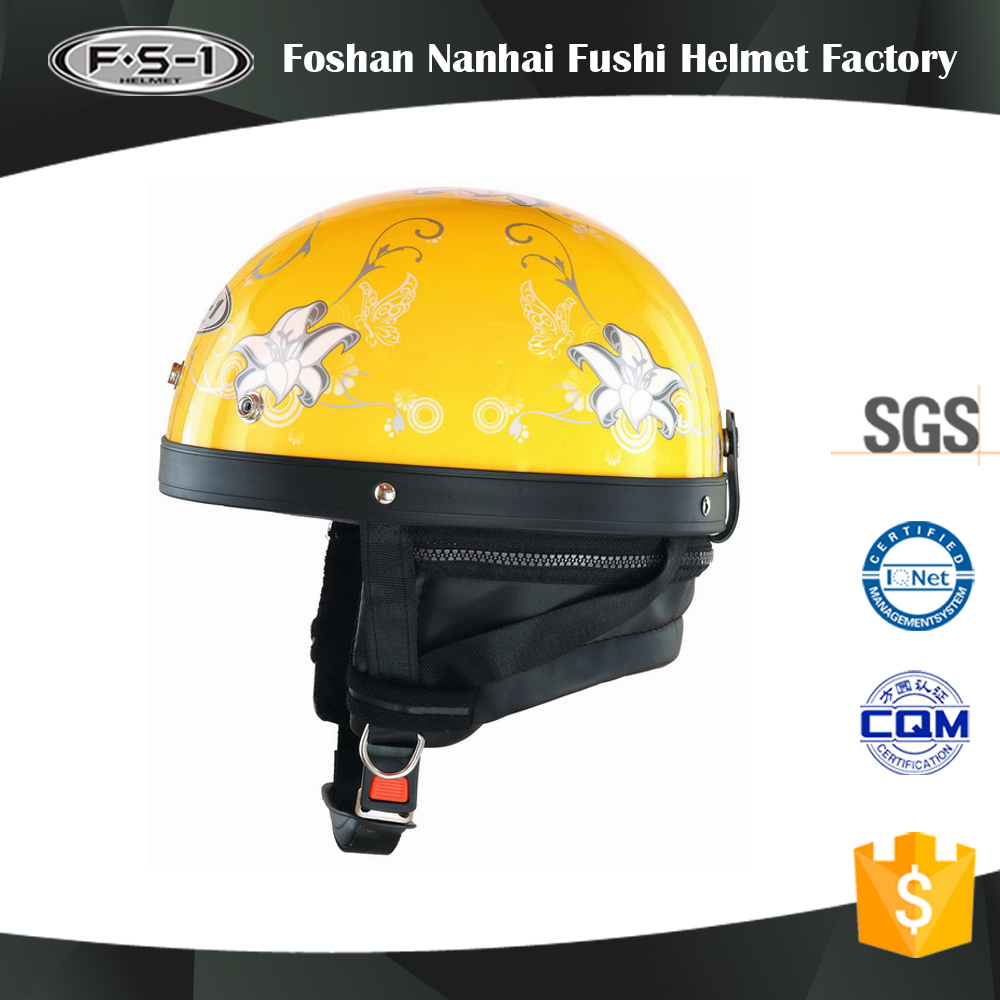 Yellow color ABS scooter helmet open face for women half face helmet for moped