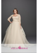 AR-84 Ball Gown Custom Made vestiti da sposa Ankle Length Bridal Dresses Lace Long Sleeve Plus Size Wedding Dresses