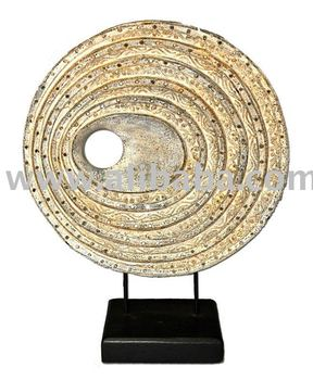 Wooden Circular Wheel Panel Decoration Furniture Wood Carving Thailand High Quality Handmade Antique Woodcraft