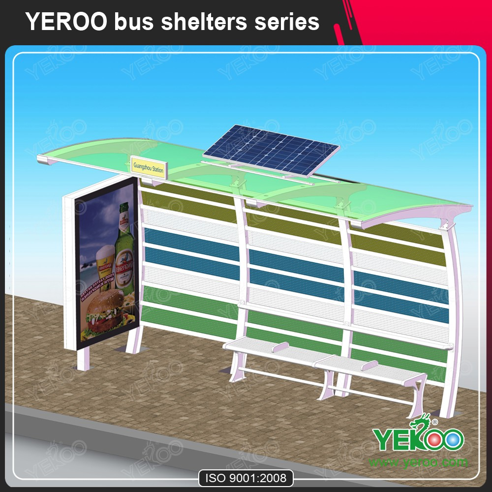 Advertising solar bus shelter outdoor furniture with signage mupis