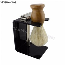 Cheap shavings brush set ,shaving razor ,nature boar fur brush acrylic stand