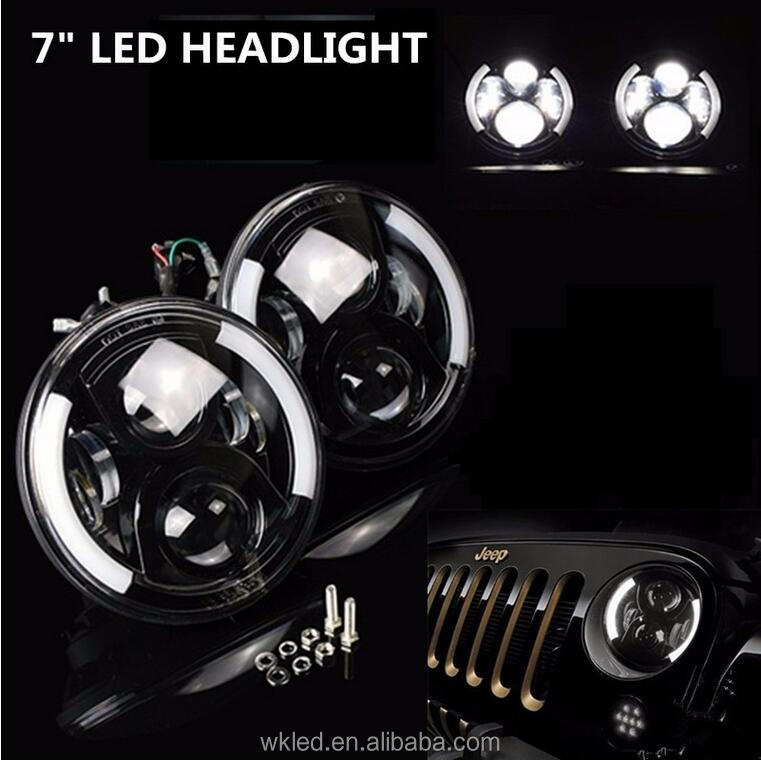 "2x C REE Chips 7"" 60W LED Headlight Projector H4 H13 Hi-Lo Beam Driving DRL Light for J e ep CJ Wrangler JK Land R over Defender"
