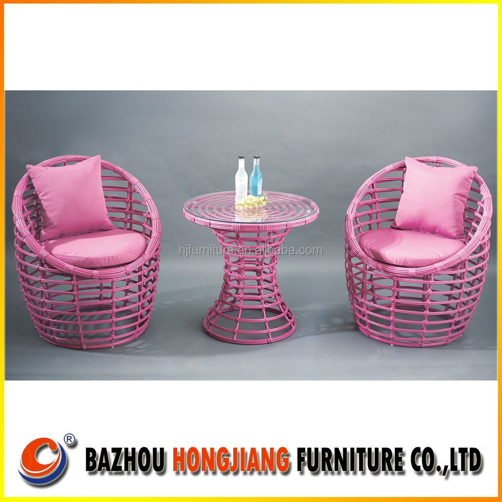 Pink single garden sofa with PE wicker outdoor furniture
