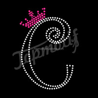 bling C with crown apparel hot fix rhinestones