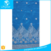 100% Polyester woven sequin embroidery fabric indian style Slub fabric customized high quality raw silk george fabric