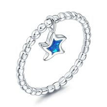Yiwu Jewelry Factory Wholsale Fashion Women's New 925 Sterling Silver Precious Fire Opal Stone Star Rings