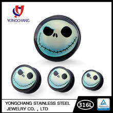Smile face earrings customized body piercing jewelry ear tunnel plug stretcher expander gauge