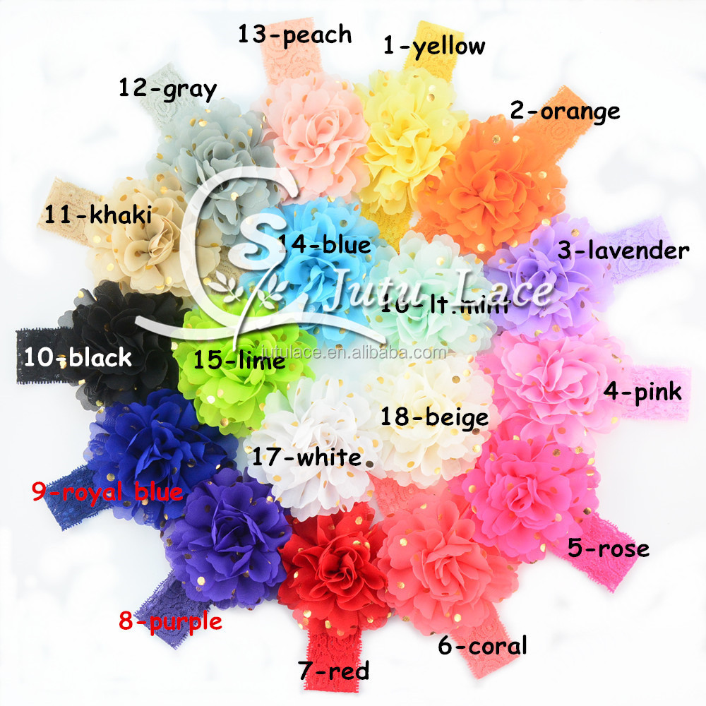 Burst hot hot stamping Chiffon Lace hair with polka dot headband European and American headdress 23 color
