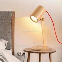 Decoration Lighting Vintage Edison Bulb Wooden Base Table Lamp With Round Clear Glass Modern Wooden Table Lamp