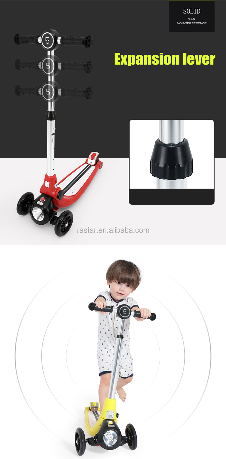 Rastar new products three wheel kids scooter with flash lights