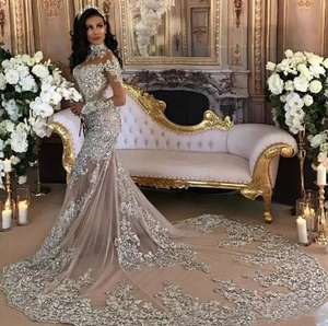 Luxury Long Sleeve High Neck Arabic Dubai Sexy Mermaid Wedding Dresses Bridal Gown 2019