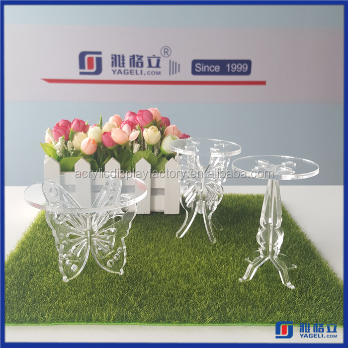 2016 Factory Directly Round Acrylic Cake Stand For Wedding / Perspex Display Cupcake Stand Decoration