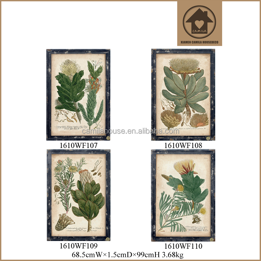 Rustic Wood Photo Frame Plant Pattern Large Wall Paintings Hanging Decor Picture of Beautiful Painting without Glass