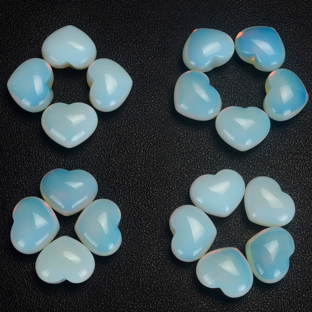 Wholesale 20mm 30mm 35mm opalite heart shape gemstone beads natural opalite crystal hearts