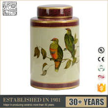 Low Price CE UL SAA Painting Bird Pattern Ceramic Ginger Jar Yellow Porcelain Temple Jar