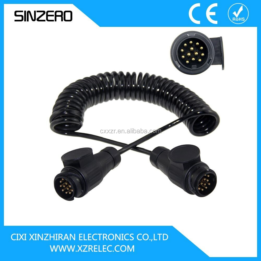 7-pole connectors for vehicles with 24v/electrical spring cable/protection spiral cable