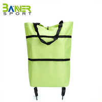 Large capacity rolling shopper tote bag folding trolley rolling shopping bag portable smart carts