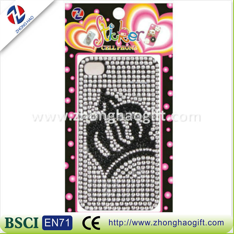 2016 new crystal crown diamond mobile phone sticker