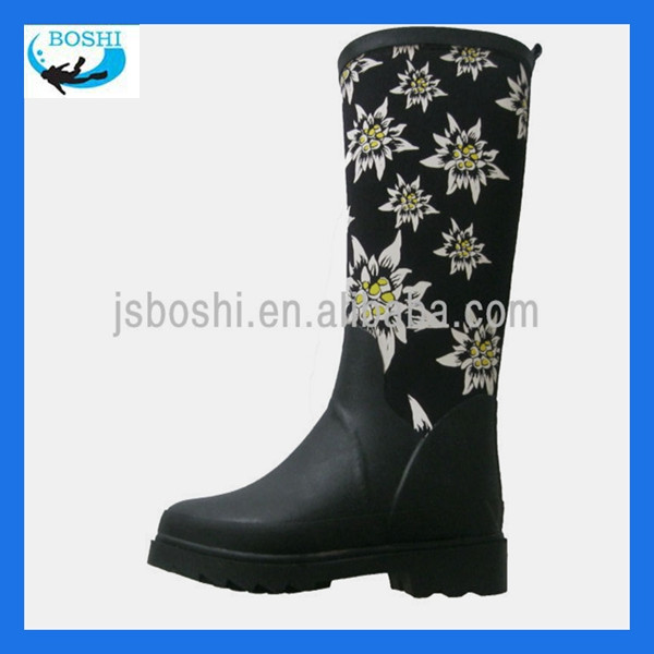 black ladies fashion neoprene knee boot/rubber upper boot
