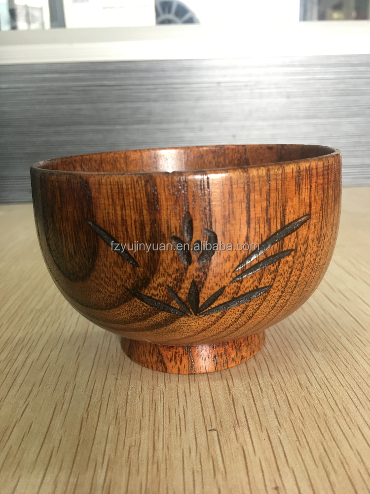 rustic Chinese large wholesale antique cheap shaving wooden salad rice soup bowl Yujinyuan carve jujube woods heart foot plate