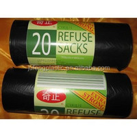 cheap HDPE/LDPE plastic garbage/rubbish bags on roll with paper label