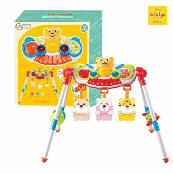 Top selling and environmental material electronic musical baby play gym with piano kick