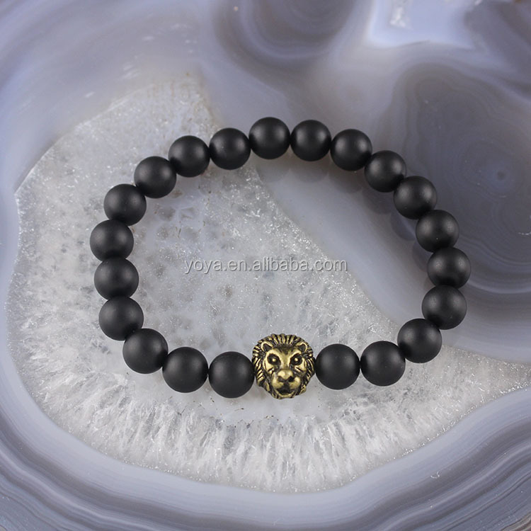 BRA1252 Fashion black matte onyx beads antique bronze lion head bracelet