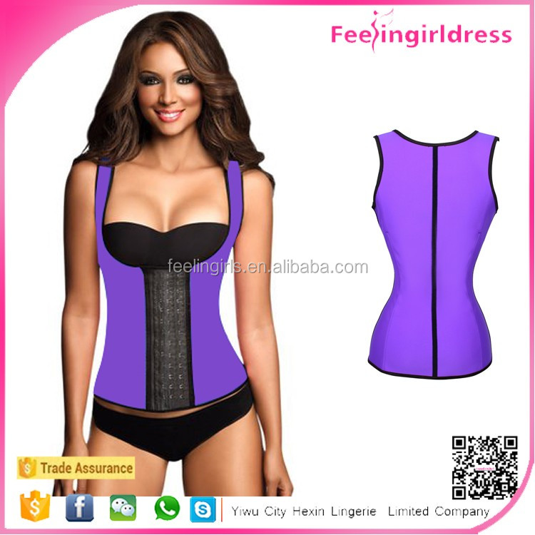 Online Purple Underbust Latex Vest Shaper Corset Back Support Vests and Corsets