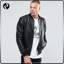 Wholesale latest design autumn clothing custom motorcycle black bomber leather jacket for man