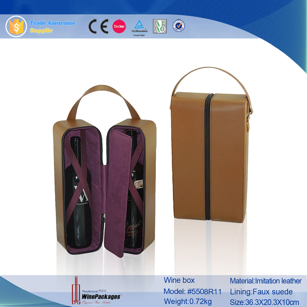 Portable Accept Custom Order bottle leather wine carrier with handle