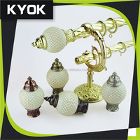 KYOK Latest fashion designs resin curtain finial home decorative, Living room decorative curtain rod glass end caps, hooks