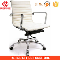 low back beige pu leather office executive manager desk chair swivel chrome back RF-S076A