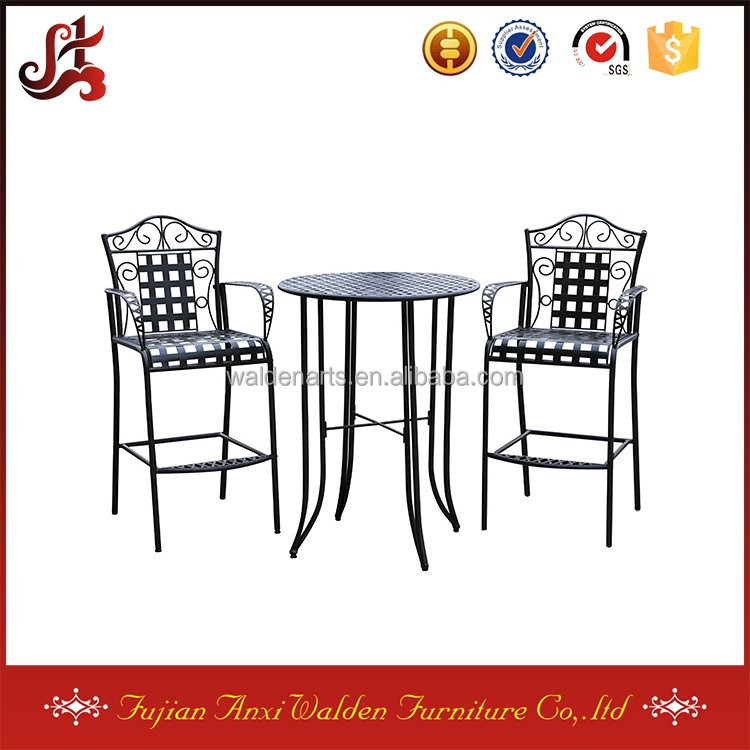 Three Piece Folding Wrought Iron Outdoor Table with Chairs Bistro Set