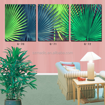 3 Panel Green Life Palm Tree Leaves Home Painting on Canvas for Decoration