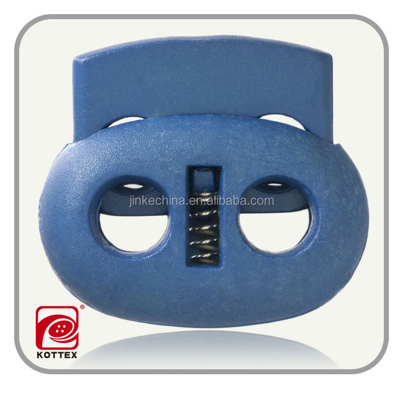 DTM Blue Rope Spring Press Button For Garment, ABS Plastic Spring Stopper , Cord Lock For Bag, Jacket