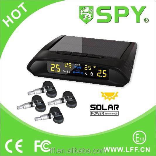 Newly wireless solar power car spy TPMS 4 external sensor colorful LCD monitor tpms CE certification