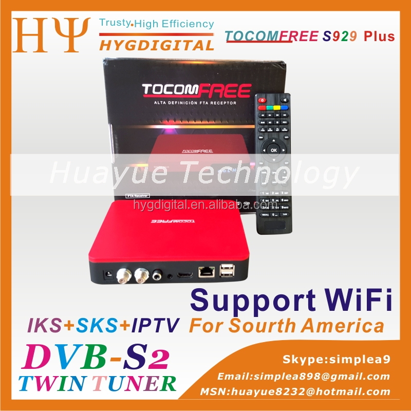 satellite receiver tocomfree s929 plus with iptv 3G iks sks free for South America beter than azamerica s1001