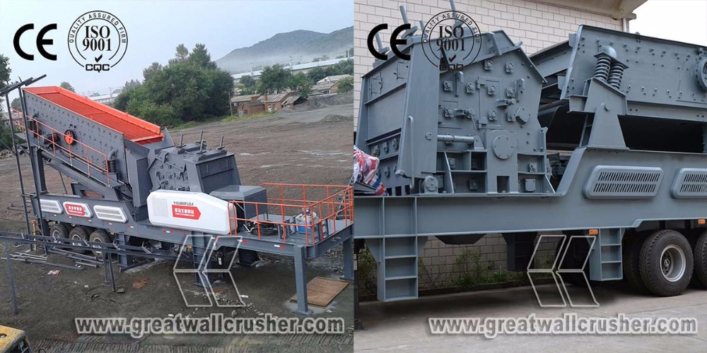 Construction waste mobile crushing plant, mobile crusher plant for recycling concrete