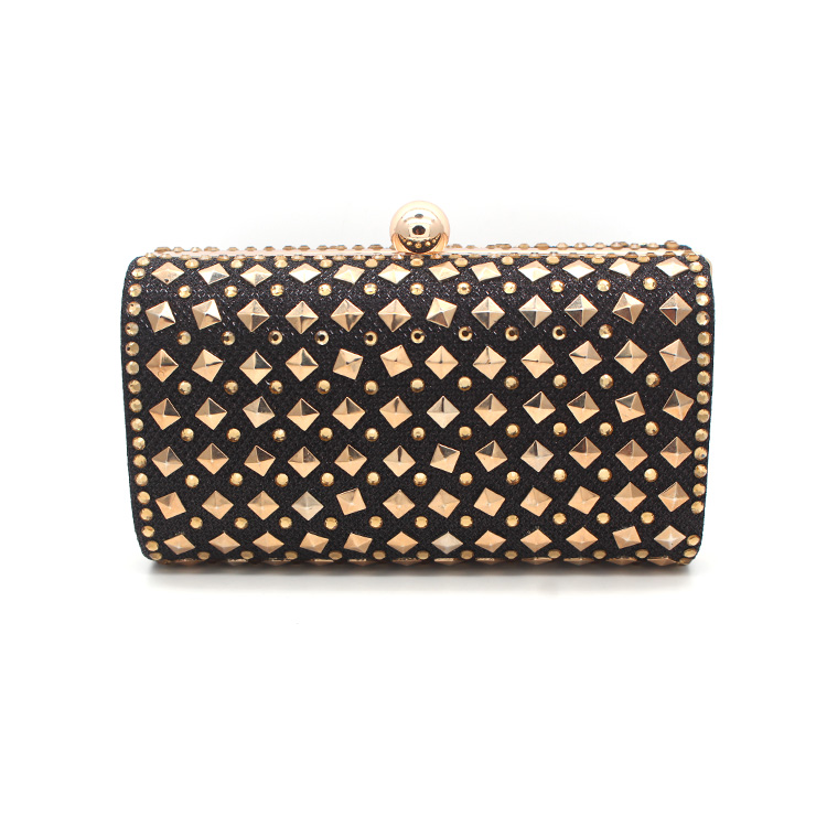 Cocktail Party Womens Black Faux Leather Studded Box Clutch Evening Bag with Detachable Shoulder Metal Chain Strap
