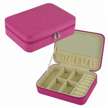 Travel Style Zipper Closure Leather Jewelry Storage Case Wholesale