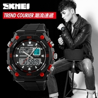 Amazing plastic double time digital men watches big face