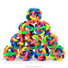 Lovely Pet Colorful Weaving Ball Training Rubber Dog Toy With Bell