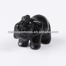 Natural Semi-precious Stone Large Animal Black Obsidian Hand Carved African Elephant Carvings