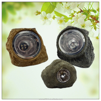 polyresin rock garden decoration led solar light