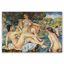 nude oil painting,The Large Bathers by Pierre Auguste Renoir